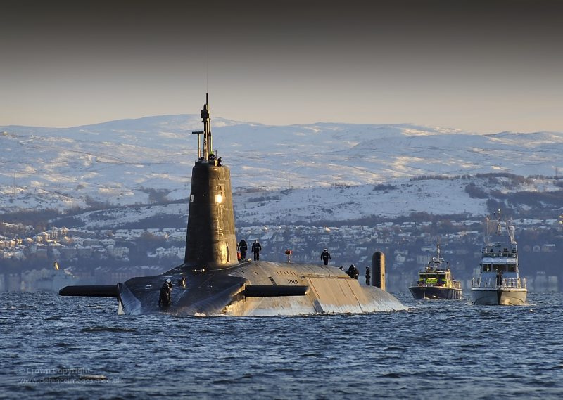Nuclear Submarine HMS Vanguard Returns to HMNB Clyde, Scotland