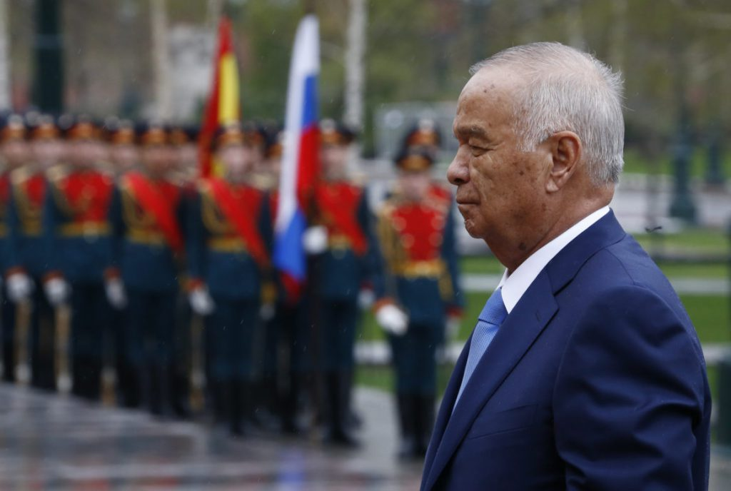Uzbek President Islam Karimov takes part in a wreath-laying ceremony at the Tomb of the Unknown Soldier by the Kremlin Wall in Moscow, on April 26, 2016. / AFP / POOL / SERGEI KARPUKHIN (Photo credit should read SERGEI KARPUKHIN/AFP/Getty Images)