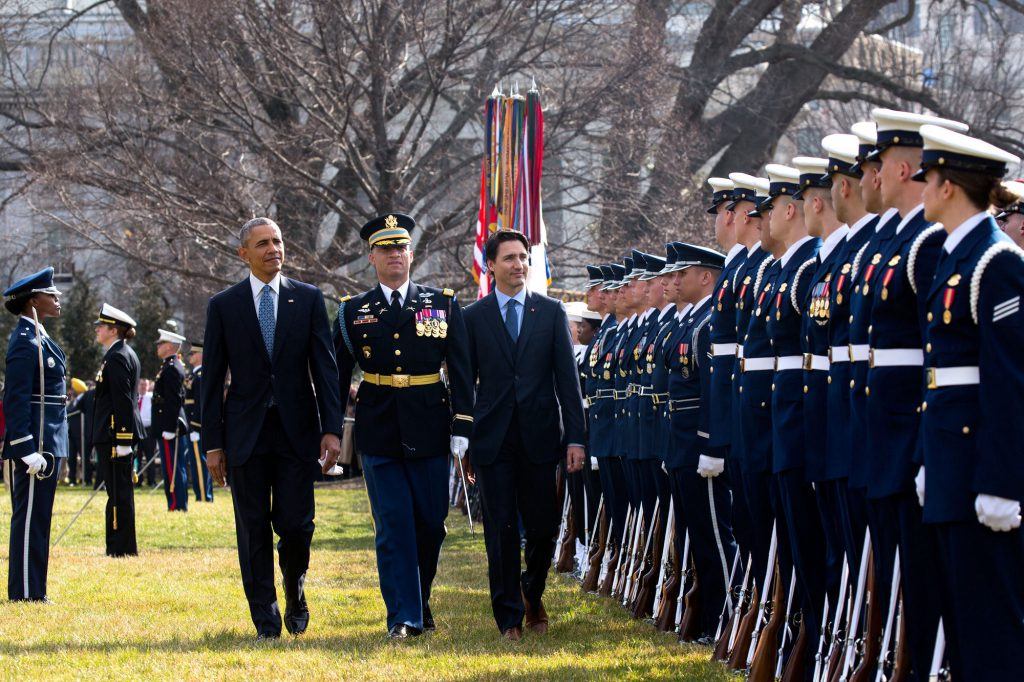 President Obama and Prime Minister Trudeau review the troops. (Official White House Photo by Chuck Kennedy); Source: https://medium.com/@WhiteHouse/in-photos-the-official-canadian-state-visit-94db196bedc8#.7kqrem8j9; 10 March 2016
