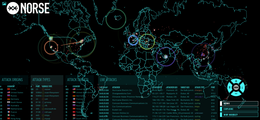 'Norse Attack Map' A threat monitoring program developed by cybersecurity firm Kaspersky showing live cyberattacks in real time around the world.