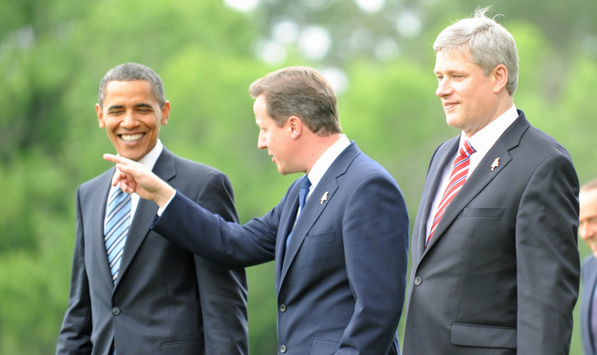 David Cameron in conversation with US President Barack Obama and Canadian PM Stephen Harper, 25 June 2010. Crown copyright (CC 2.0).