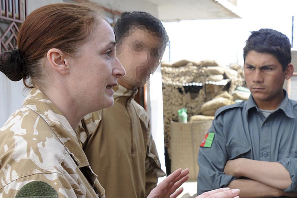 Corporal Natasha Richards Royal Military Police instructs some of the up and coming Afghanistan police. Continuing police training is having a real result bringing the Afghanistan police up to speed showing modern methods of policing. Captain Damian Coxon aged 24 from Folkestone and Corporal Natasha Richards aged 30 from Eastbourne have helped in the process of building a better police service for Afghanistan. The training is held at Musa Qala Camp where the focus has been at a lowe level training which involved demonstrations and reacting out some potential roles, going through discussing where things have gone wrong or just ways to improve better policing. Date: 21st Feb 2010 Location: Musa Qala, Afghanistan Unit: Royal Military Police Photographer: Staff Sergeant Will Craig Event: Showing local town and business in Musa Qalal Crown Copyright Media Ops Camp Bastion Helmand Afghanistan