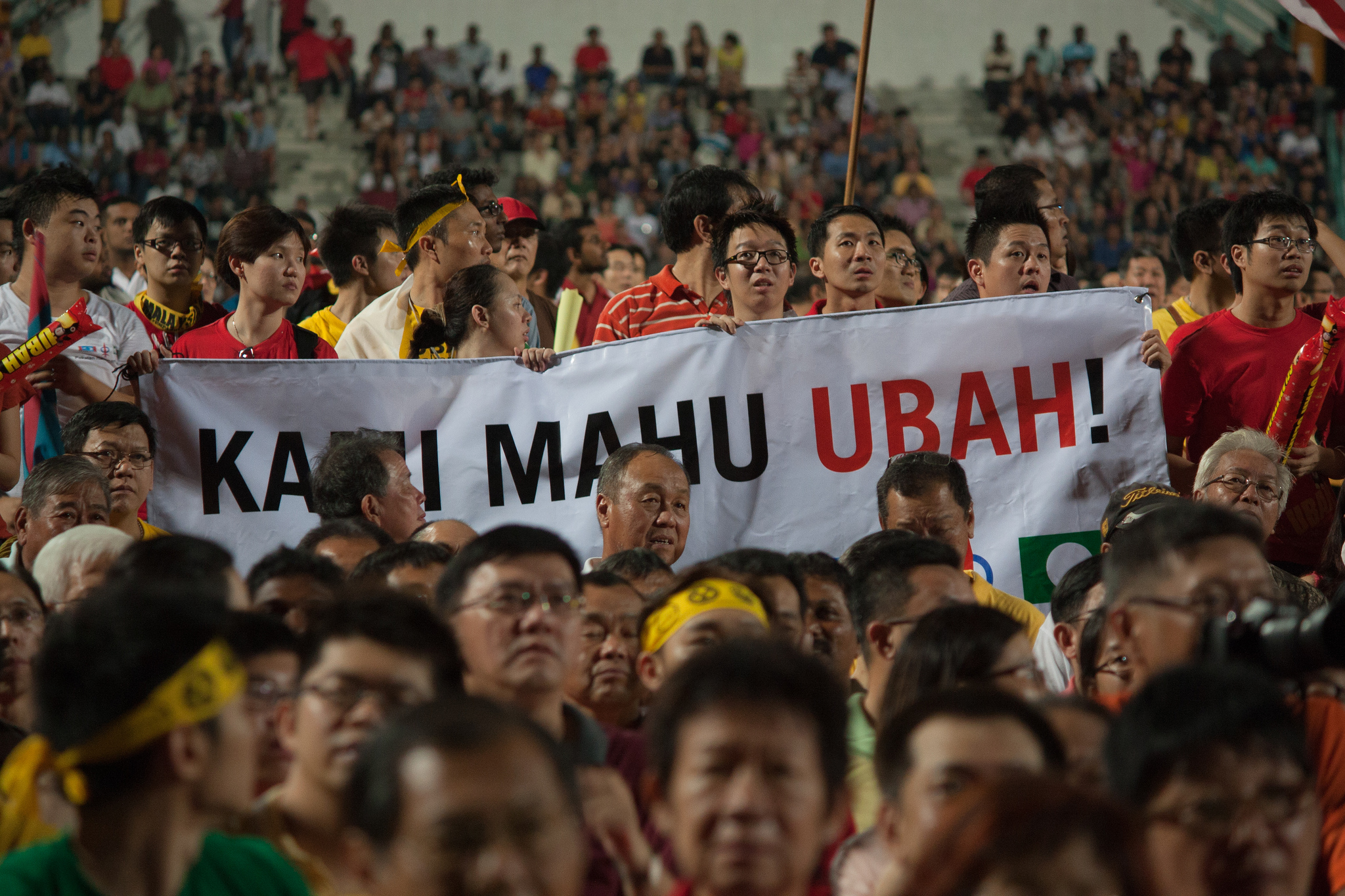 Malaysians participating in a rally to express their desire for change. (Photo: Obtained via a Flickr account. Licensed under Creative Commons.)