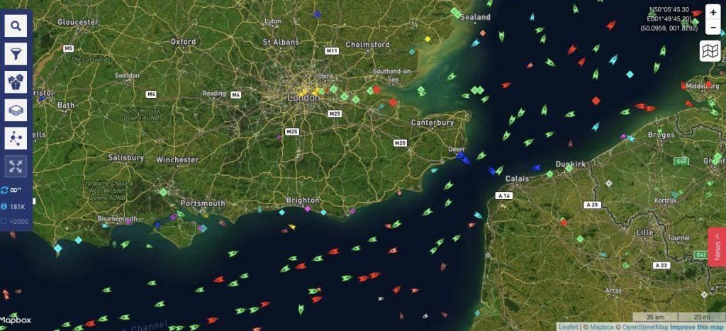 Internet based Maritime Traffic Map detailing the positions of types of vessels off the coast of the United Kingdom