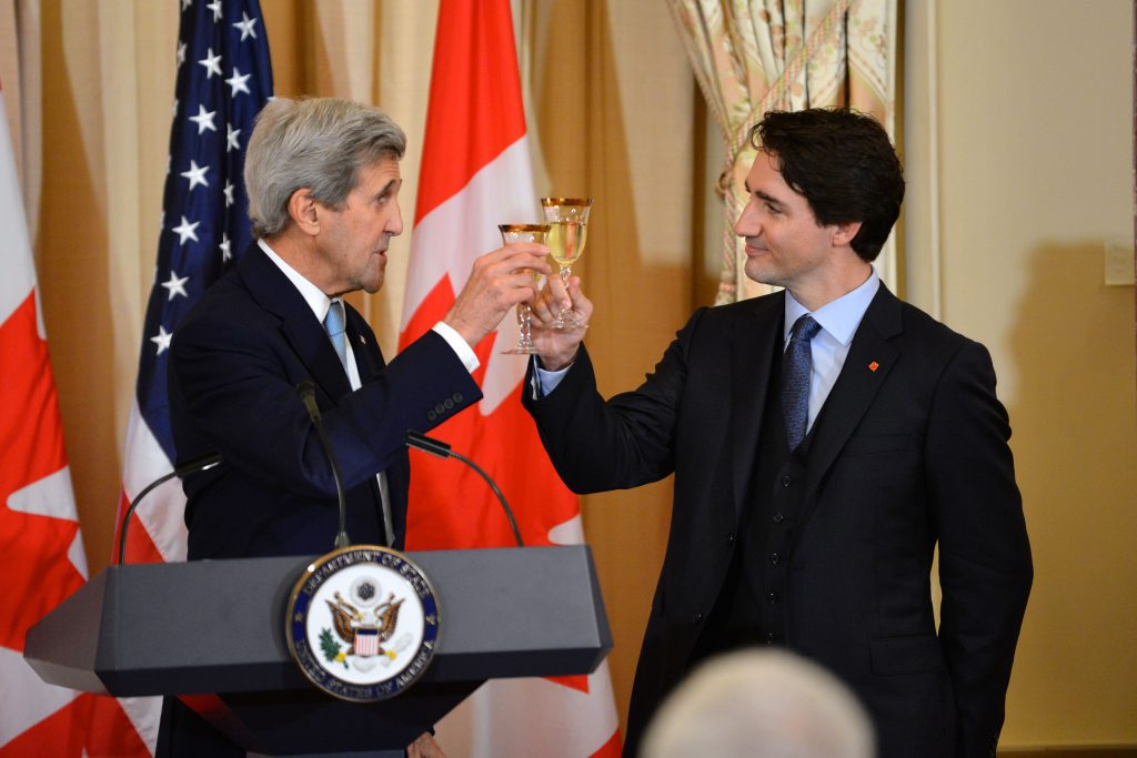 US Secretary Kerry and Canadian Prime Minister Trudeau toasting to the US-Canada relationship on March 10th, 2016. Source: https://commons.wikimedia.org/wiki/File:Secretary_Kerry_and_Canadian_Prime_Minister_Trudeau_Raise_a_Toast_to_the_U.S.-Canada_Relationship_at_a_State_Luncheon_(25680800665).jpg; (Accessed 15 November 2016)