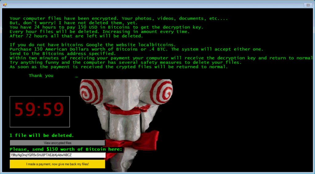 JIGSAW Crypto-Ransomware notification window – good luck