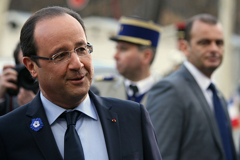 French President François Hollande during the 11th November commemorations in 2002