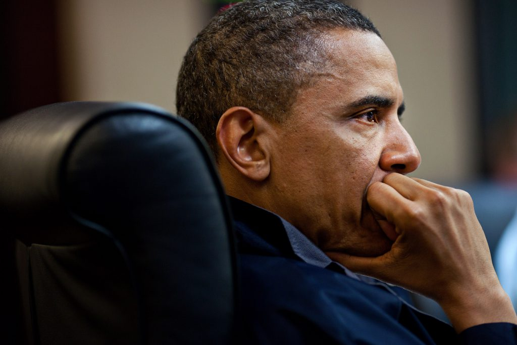 President Barack Obama listens during one in a series of meetings discussing the mission against Osama bin Laden, in the Situation Room of the White House. This marked a rare and tangible foreign policy success for Obama over the course of a tenure where inertia and lack of direction became characteristic. (Photo by Pete Souza/The White House via Getty Images)